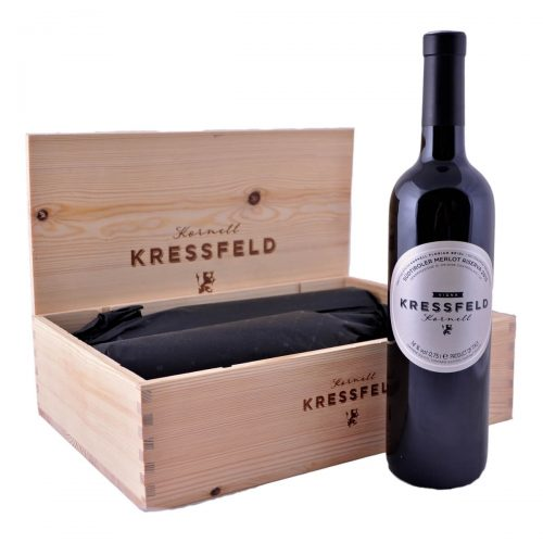 Dárkový set Kressfeld Riserva 2015 (Tenuta Kornell) v dřevěné bedýnce